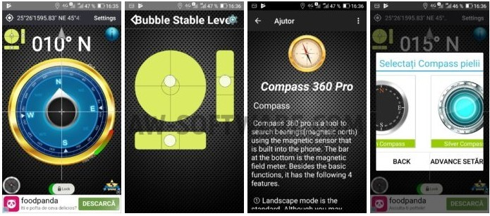 Compass 360 Pro Free - aplicatie busola gratis pentru Android