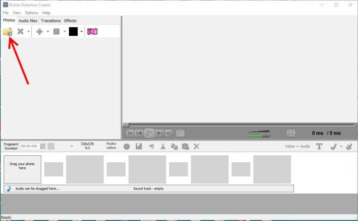 Program de facut video cu poze si muzica Free Bolide Slideshow Creator